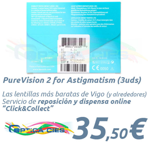 Pure Vision 2 for Astigmatism en Óptica Cíes Vigo