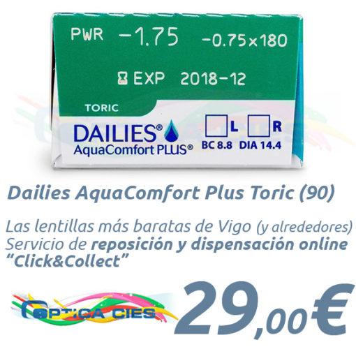 Lentillas Dailies AquaComfort Plus Toric en Óptica Cíes Online - Vigo