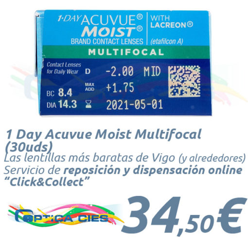 1 Day Acuvue Moist Multifocal 30 en Óptica Cíes Online
